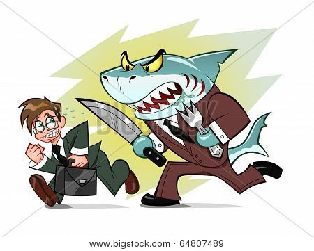 Businessman And Business Shark