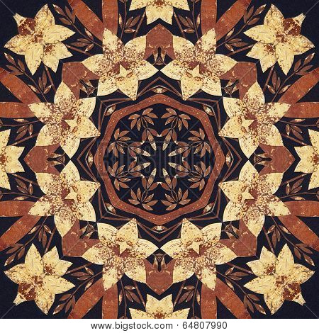Seamless floral ornament, bark on fabric