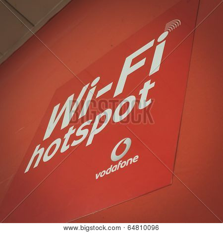 Vodafone Wi-fi Sign At Solarexpo 2014 In Milan, Italy
