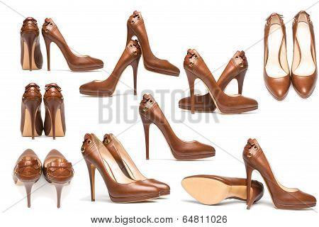 Elegant High Heel Shoes On White