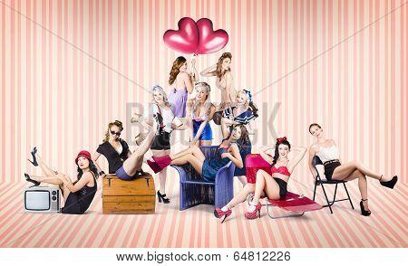Group Of 10 Beautiful Pinup Girls In Retro Fashion