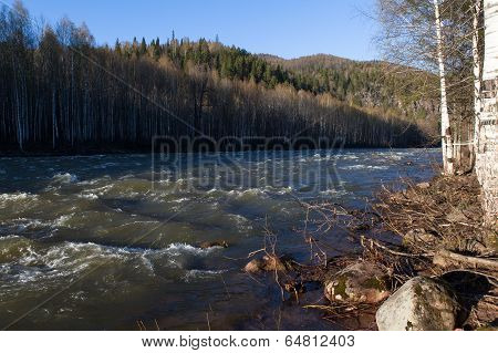 Ural Nature On The River Lemeza, South Ural Region