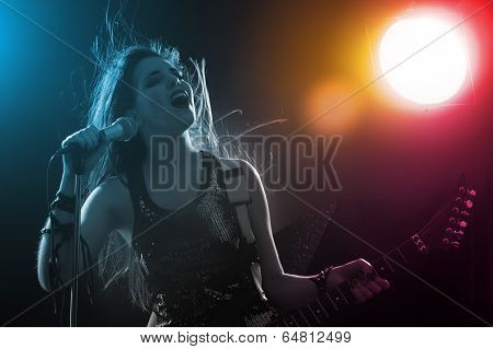 Young Teenager Star On Stage