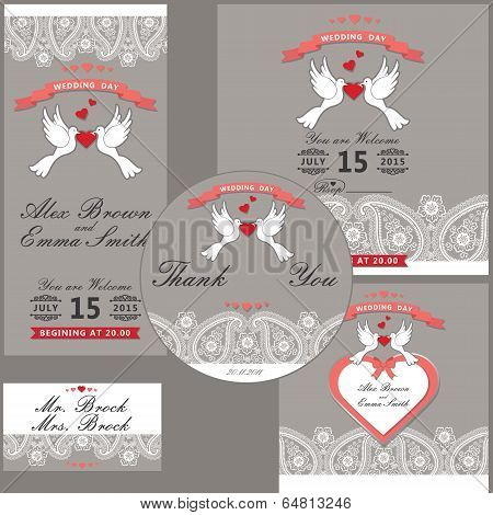 Wedding Design  Template With Paisley Border,cartoon Pigeons