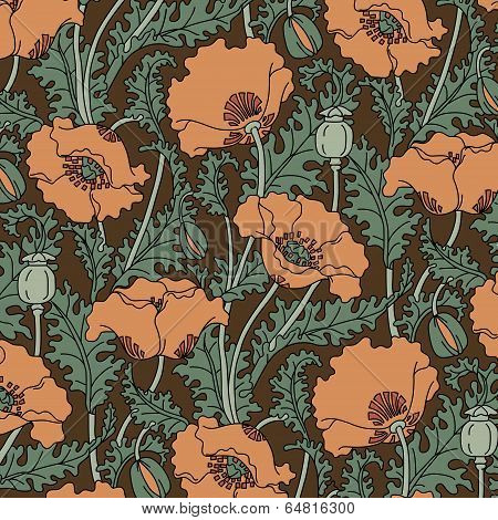 Retro pattern of red poppies