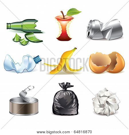 Garbage Icons Detailed Vector Set