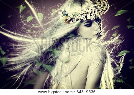 spring nymph with long blond hair in motion and wreath of flowers and leaves around composite photo