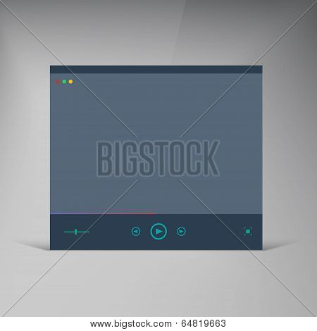 Vector player. Flat UI brochure window