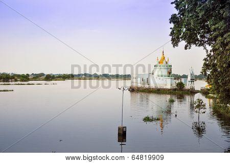 Buddhist Temple Near U Bein Bridge, Mandalay, Myanmar.