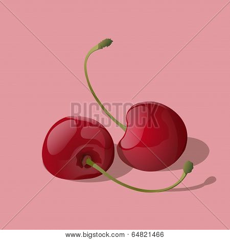 Closeup Ripe Red Cherry Berries Isolated On Light Background. Vector Illustration.