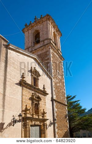 Benassal church facade Benasal in Maestrazgo Castellon Spain
