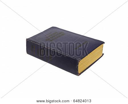 Old Book English-russian Dictionary Isolated