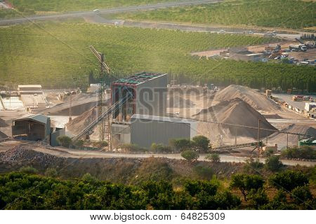 Arid crushing quarry in Castellon province at Valencian Community of Spain