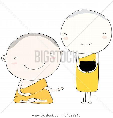Monk Thai Smile Vector