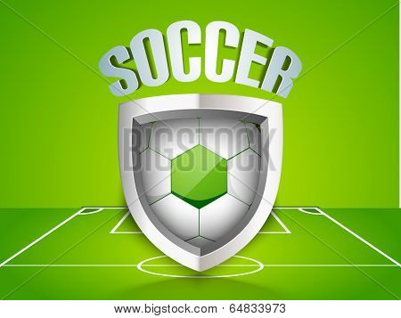 Glossy trophy for soccer ball winner with soccer ball inside and stylish text on stadium background.