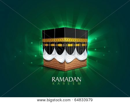 Qaba Sharif on shiny green rays background, poster, banner or flyer design for holy month of muslim community Ramadan Kareem.