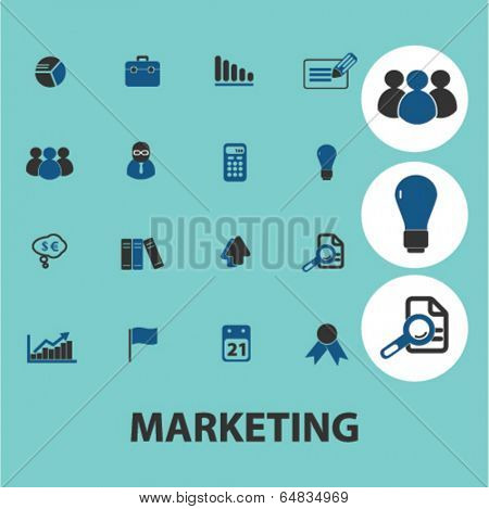 marketing, management icons, signs set, vector