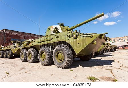 Samara, Russia - May 8, 2014: 2S23 Nona-svk 120Mm Self-propelled Mortar Carrier On Wheeled Chassis