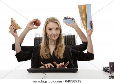 Busy Woman At Her Desk