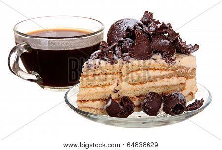 cake isolated on  white background. Cake With Chocolate, Fruit And Cream.