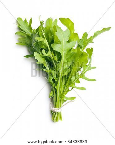 fresh arugula leaves on white background