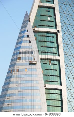 MANAMA, BAHRAIN - DECEMBER 26, 2007: Bahrain World Trade Center. It is a 240-meter high twin tower complex and it was built in 2008.