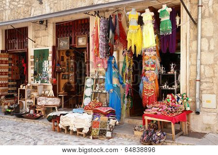 BOSNIA AND HERZEGOVINA, MOSTAR - MAY 14, 2009: Gift shop in Mostar, Bosnia and Herzegovina. Mostar is the fifth-largest city in the country and prominent tourist attraction point.