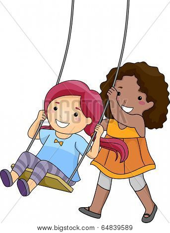 Illustration of a Little Girl Pushing Her Friend on a Swing
