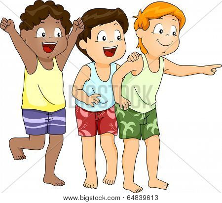 Illustration of Little Boys in Beachwear Pointing at Something