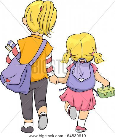 Illustration Featuring Sisters Walking Home Together