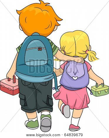 Illustration of a Big Brother Walking Home with His Little Sister
