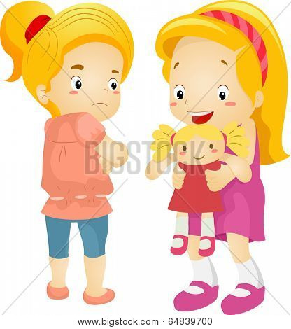 Illustration of a Little Girl Jealous Over Her Playmate's New Doll