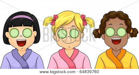 Illustration of Little Girls Being Pampered in a Kids Spa