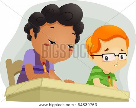Illustration of a Little Boy Trying to Copy His Seatmate's Answers