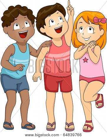 Illustration of Kids in Beachwear Looking Upwards