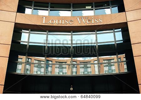 Louise Weiss Name On European Parliament Entrance