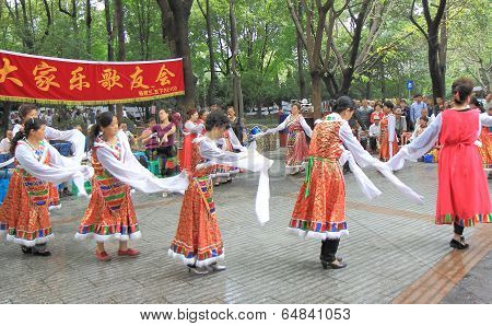 Local dance show in People's park Chengdu