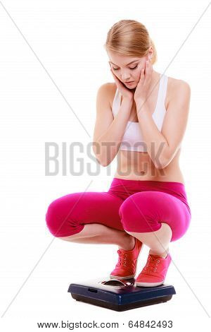 Fitness Woman Sporty Girl On Scale Worried With Her Weight