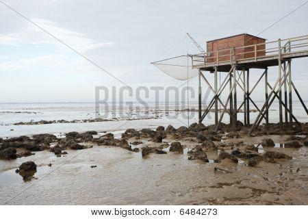 Hut at low tide