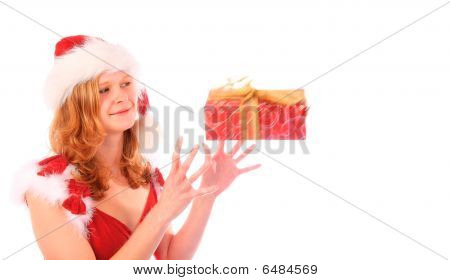 Miss Santa Is Catching A Red Gift Box