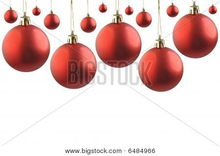 Collage of red  christmas balls.