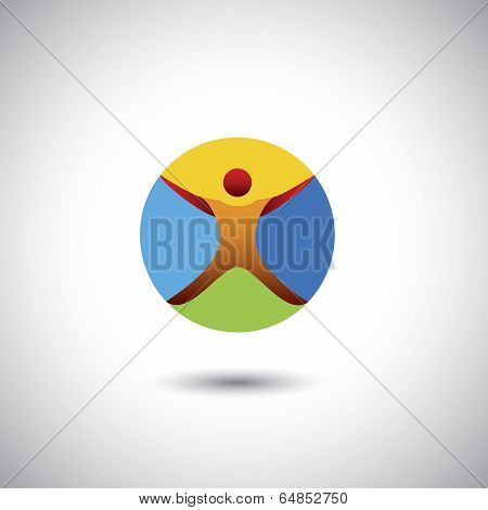 Person Doing Yoga, Fitness Icon - Concept Vector Graphic