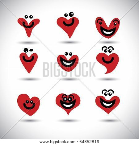 Happy, Smiling, Lively Heart Icons Collection Set - Concept Vector Graphic