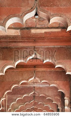 Architectural of Lal Qila - Red Fort in Delhi, India, Asia