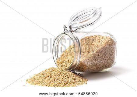 Brown Rice And Jar