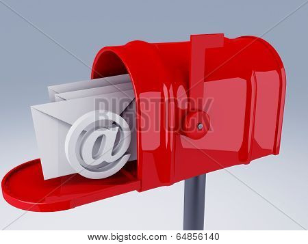 Red Mail Box With At Symbol And Heap Of Letters