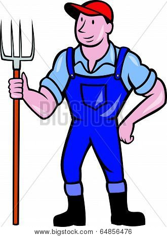 Farmer Holding Pitchfork Standing Cartoon