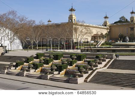 Cascade At National Art Museum. Barcelona. Spain