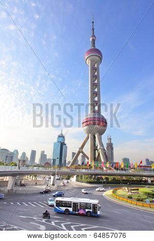 SHANGHAI, CHINA - APRIL 10, 2014: The Oriental Pearl Radio and TV Tower (468 m). Construction was completed in 1994.