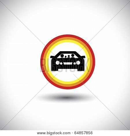 Family & Car Icon With Circles: Parents And Children Concept Vector.
